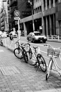 Bikes on the streets of Tokyo