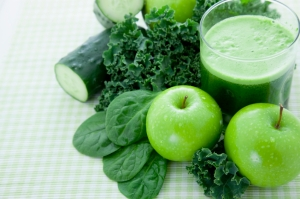 Kale, spinach, cucumbers and an apple make for a delicious smoothie.