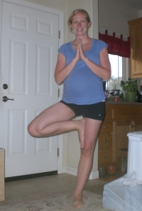 Tree pose 3 weeks before I had my son.