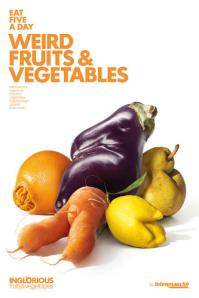 Give imperfect produce a chance. Poster by photographer Patrice de Villiers.